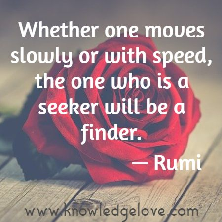 Whether one moves slowly or with speed, the one who is a seeker will be a finder.