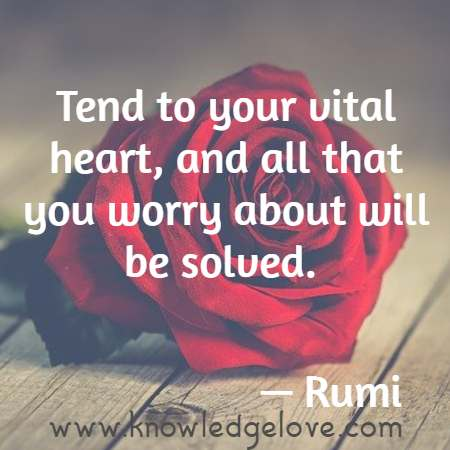Tend to your vital heart, and all that you worry about will be solved.