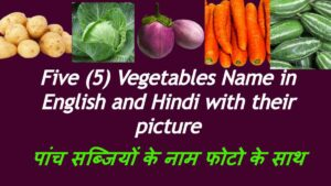 Five (5) Vegetables Name in English and Hindi with their picture